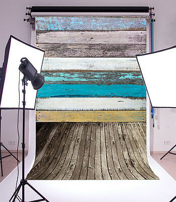 5x7ft Vinyl Blue faded wood Photography Backdrop Studio Props Background Photo