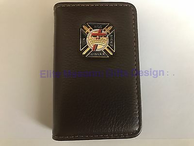 Masonic Knights Templar Business, Credit or Dues Card Holder, coffee Color.