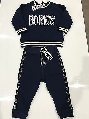 NWT Bonds Baby Unisex Navy White Floral Jumper & Trackies Set 0/1 RRP$50.00