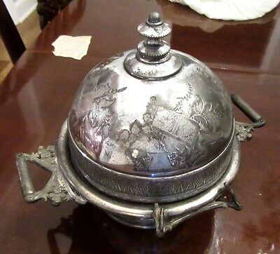 Antique Meridian Covered Chilled  Silverplate Caviar Butter
