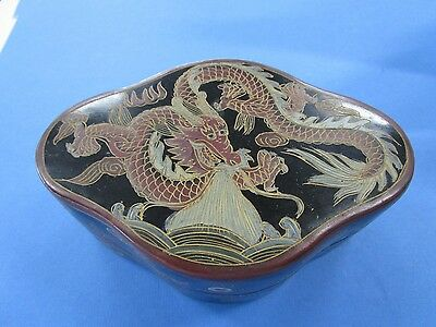Vintage Chinese Hand Carved and Lacquered Dragon Box