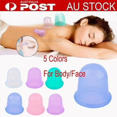 Silicone Massage Cupping Cups Celluless Vacuum Therapy Anti-cellulite Set Kit BU