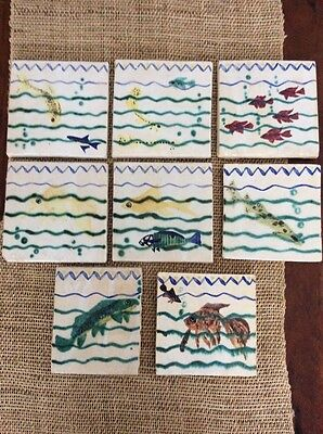 French Faience Handpainted Fish Tiles Set Circa 1930