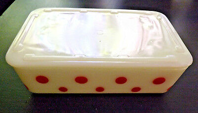 2 McKee Red Polka Dots Refrigerator Dishes One with Lid