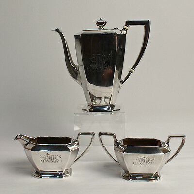 Antique Gorham Fairfax Sterling Silver Tea Set - Teapot Creamer Sugar - SL