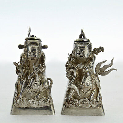 2 Figural Signed Chinese Export Silver Salt & Pepper Shakers Snuff Box Opium SL