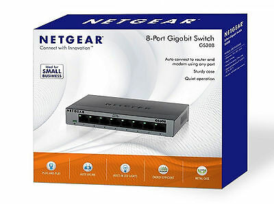 NETGEAR GS308-100UKS Gigabit Network Switch 8 Port LAN Ethernet Hub Metal