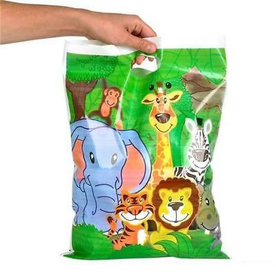 Pack Of 6 Zoo Animal Large Party Bags Sacks - Kids Plastic Goody Bags Giveaway