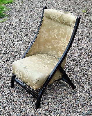 19th century ebonised campaign chair