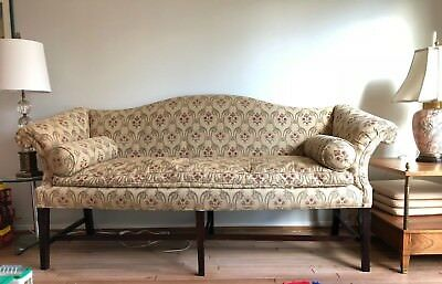 Circa 1800 English Hepplewhite Camelback Upholstered Sofa