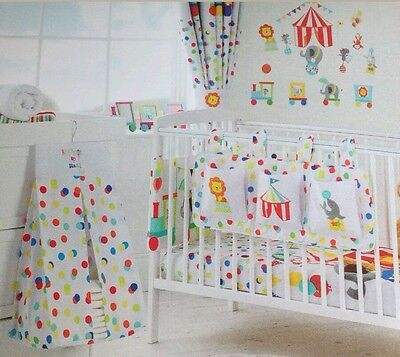 Circus Friends Cot Tidy & Nappy Stacker Twin Set White Multi Colour/baby/nursery