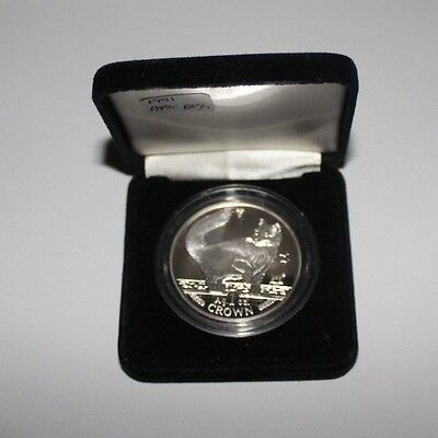 1991 Isle of Man Persian Cat Coin 1 oz Silver Proof with Box