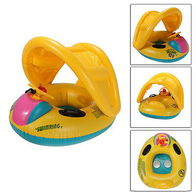 Baby Kids Swimming Infant Float Seat Inflatable Ring Pool Boat Sunshade Adjustab