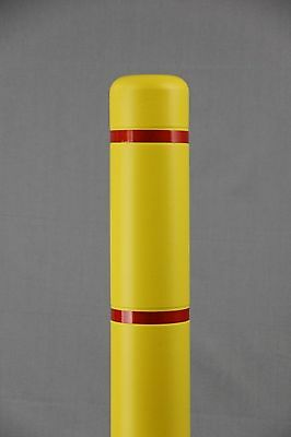 """4"""" x 52"""" BollardGard Bollard Cover - Yellow with Red Reflective Tapes"""