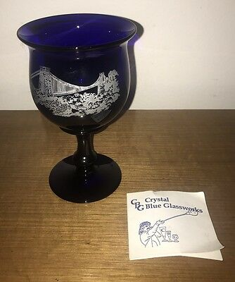 Bristol Blue Glass Authentic Goblet: Steve Baker SIGNED: Image Suspension Bridge