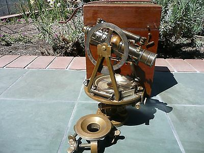 W & LE GURLEY Antique Brass Surveyor's Transit in Original Wooden Box  FREE SHIP