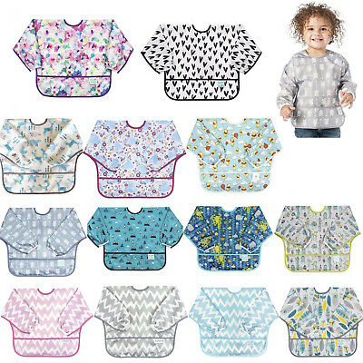 Bumkins Long Sleeve Full Cover Wipe Clean Food Catcher Toddler Bib