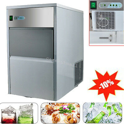 USA 25kg Auto Commercial Ice Maker Cube Machine Stainless Steel Bar 55lb 240W CE