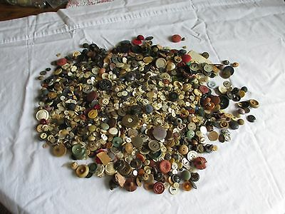 4 Pounds Of Antique Buttons Estate Find.