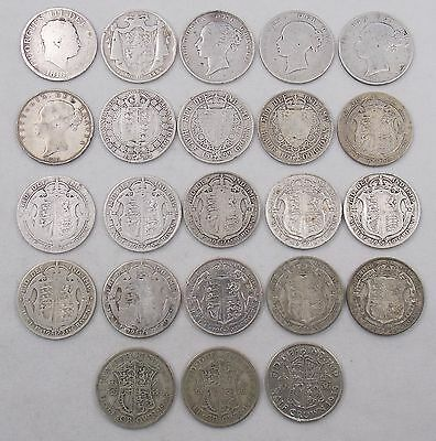 UK Silver Half Crown Coin Lot x23 1818 1836 1840 1844 1882 1883 +More (#4347)