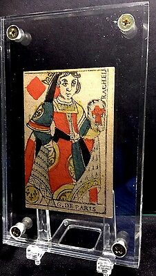 18th Century Authentic Woodcut Playing Cards Rare Court Single Document Use +COA