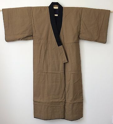 Authentic Japanese men's dressing gown, house padded kimono, dotera,brown(J1548)
