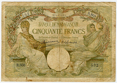 Madagascar 1937-47 Issue 50 Francs Scarce Note Fine. Pick#38.