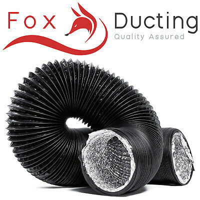 Hydroponics Combi Ducting 5M Black PVC Flexible Air Extractor Ventilation Duct