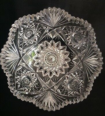 "American Brilliant Period ABP Deep Cut Glass Bowl 8 1/4""  Thick Heavy ANTIQUE"