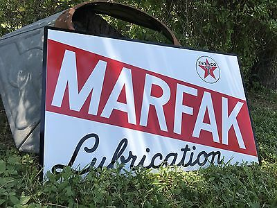 Antique Vintage Old Style Texaco Marfak Lubrication Sign!