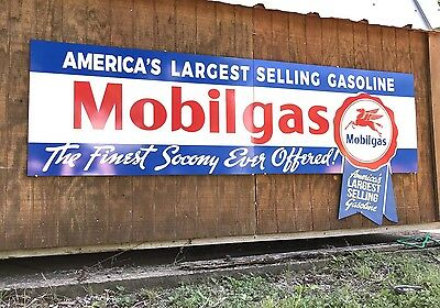 Antique Vintage Old Style Mobilgas Socony Sign HUGE!