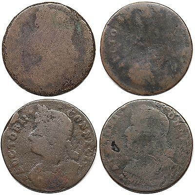 Lot of 4 different 1787 Connecticut Copper varieties, low grades