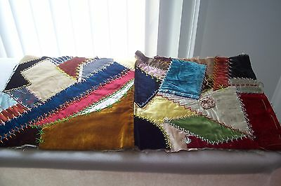Vtg Antique 1800's 19TH Century Fabric Crazy Quilt scrap
