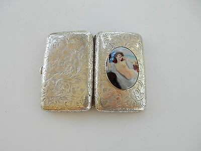 Antique Sterling Silver & Enamel Lady by Ocean Cigarette Case Thomas Hall 1891