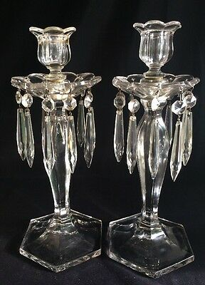 Antique Glass and Crystal Candlestick Pair ~Screw Fonts~With Prisms and Bobeches