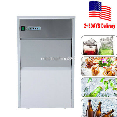 【USA by Fedex】Stainless Steel Commercial Ice Maker Restaurant Ice Cube Machine