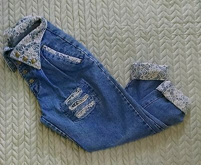 Vintage Traffic Jeans High Waist Lace Grunge 90's Cuffed Button Fly- Size 9/10