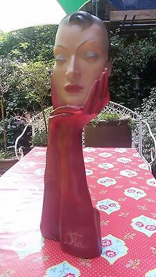 Deco~French 50's Vintage Christian Dior Red Display Mannequin Head Statue RARE💗
