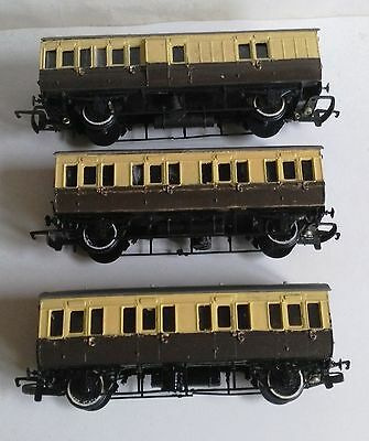 OO Gauge - Ratio Kitbuilt 3 x GWR 4-Wheel Coaches. A bit rough. Spares/Repair
