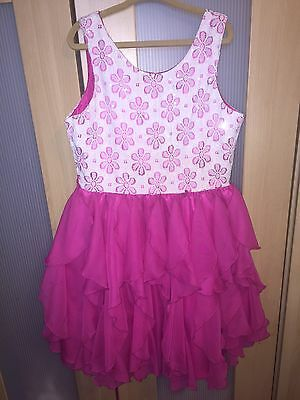Girls Size 8 Party Formal Dress. Pink Tulle Skirt Sequin Bodice White Floral