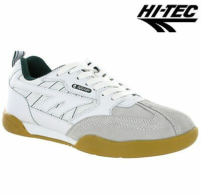 HI-TEC SQUASH Badminton Tennis Classic Sport Trainers WHITE / GREEN UK 14