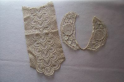 Vtg Antique Victorian Edwardian Cotton Lace Trim  French German Doll 2 Pieces