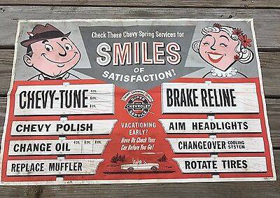"Original 1964 GM Chevrolet Dealership Sign Kit Service Pricing Poster 38""x25"""