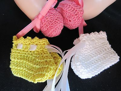 "Lot Of 3 Crocheted Booties For 18"" Vogue Baby Dear Doll"