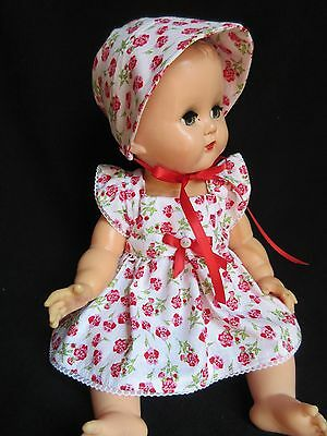 "3 Piece Floral Summer Dress Set For 14"" Vintage Ideal Betsy Wetsy Baby Doll"