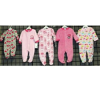 Baby Gear Girls sizes 0-9 month footed plush coveralls 24pcs. [BGGNBPCOV]