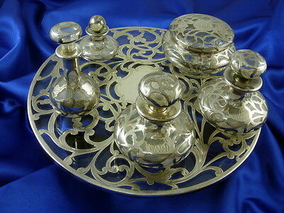 Antique Silver Scroll Work on Glass Vanity Set Tray and 5 Pieces