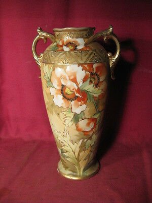 "11 1/2"" Tall Antique Nippon Vase w Hand Painted Flowers w M In Wreath Mark"