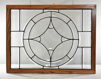 Beveled Glass Transom Window with Large Circular 4 Point Star Center