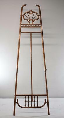 Antique Victorian Stick & Ball Floor Display Easel With Brass Accents